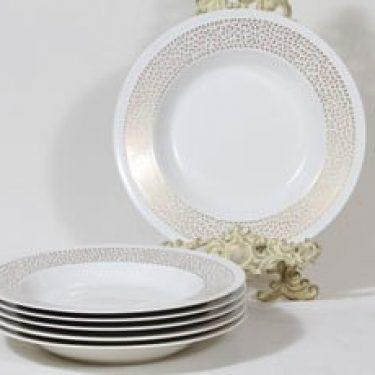 Arabia Kimmel lautaset, syvä, 6 kpl, suunnittelija Esteri Tomula, syvä, serikuva