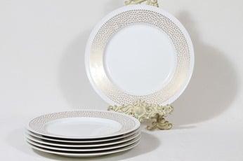 Arabia Kimmel lautaset, matala, 6 kpl, suunnittelija Esteri Tomula, matala, serikuva