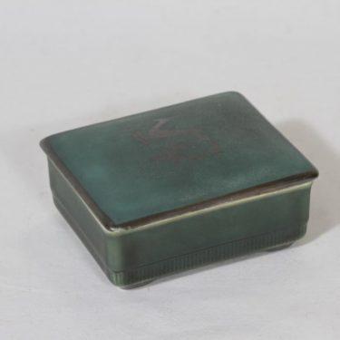 Arabia H box, green Greta Lisa Jäderholm-Snellman, decorative printing, art deco