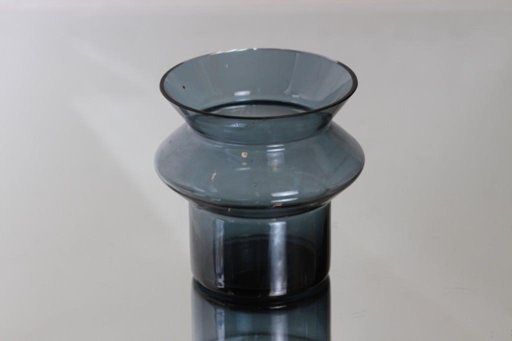 Riihimäen lasi Hyrrä maljakko, siniharmaa, suunnittelija Helena Tynell,