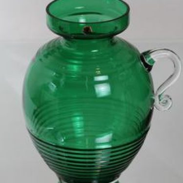 Riihimäen lasi Kleopatra maljakko, vihreä, suunnittelija Tamara Aladin, suuri