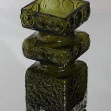Riihimäen lasi Kehrä maljakko, oliivinvihreä, suunnittelija Tamara Aladin,