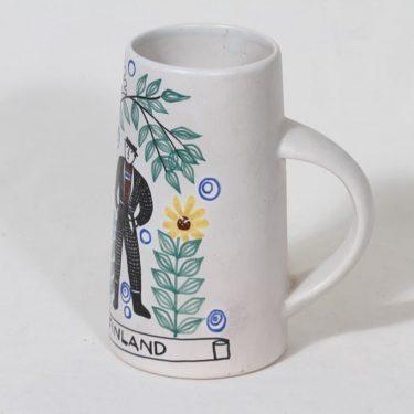 Kupittaan savi haarikka, käsinmaalattu, suunnittelija Gudrun Raunio, käsinmaalattu, suuri, signeerattu