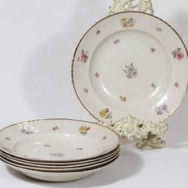 Arabia Rosita lautaset, syvä, 6 kpl, suunnittelija Svea Granlund, syvä, siirtokuva, kultakoriste