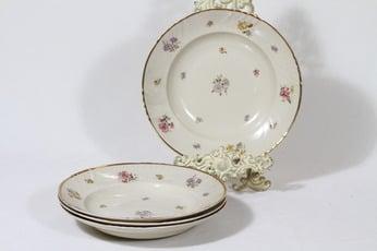 Arabia Rosita lautaset, syvä, 4 kpl, suunnittelija Svea Granlund, syvä, siirtokuva, kultakoriste