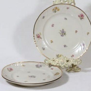 Arabia Rosita lautaset, matala, 3 kpl, suunnittelija Svea Granlund, matala, siirtokuva, kultakoriste