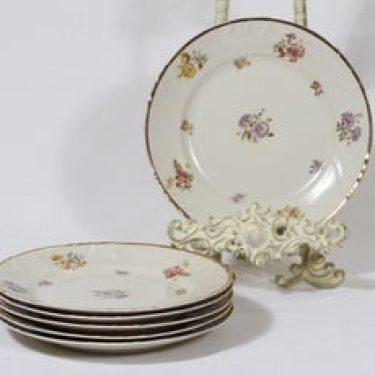 Arabia Rosita lautaset, pieni, 6 kpl, suunnittelija Svea Granlund, pieni, siirtokuva, kultakoriste