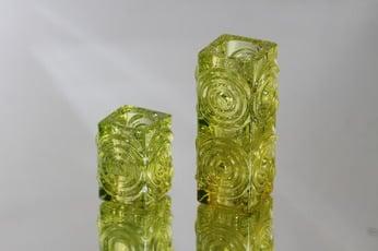 Riihimäen lasi Rengas kynttilänjalat, eri kokoja, 2 kpl, suunnittelija Tamara Aladin, eri kokoja, retro
