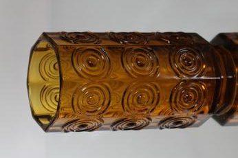 Riihimäen lasi Rengas maljakko, amber, suunnittelija Tamara Aladin, massiivinen, retro