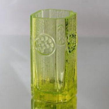 Riihimäen lasi Rondella maljakko, keltainen, suunnittelija Tamara Aladin, massiivinen, retro