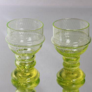 Riihimäen lasi Sulttaani viinilasit, keltainen, 2 kpl, suunnittelija Nanny Still,