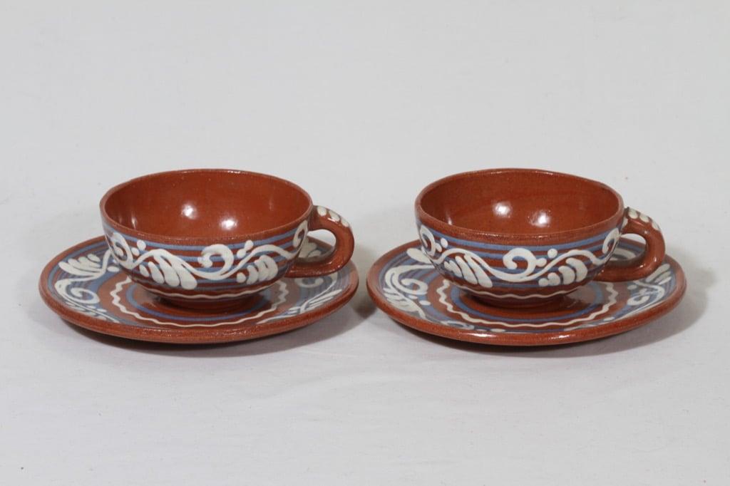 Kupittaan savi tea cup, hand-painted, 2 pcs, Gudrun Raunio