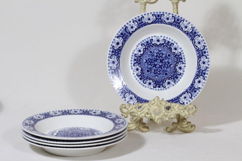 Arabia Ali lautaset, syvä, 5 kpl, suunnittelija Raija Uosikkinen, syvä, kuparipainokoriste