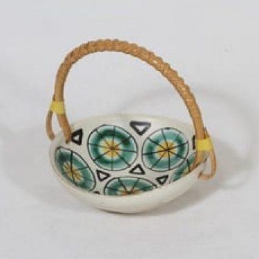 Kupittaan savi 680-l keramiikkakori, käsinmaalattu, suunnittelija Laila Zink, käsinmaalattu, pieni, signeerattu