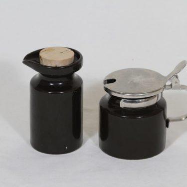 Arabia B 1 sinappipurkki ja öljykaadin, musta, suunnittelija Gunvor Olin-Grönqvist, koristelematon