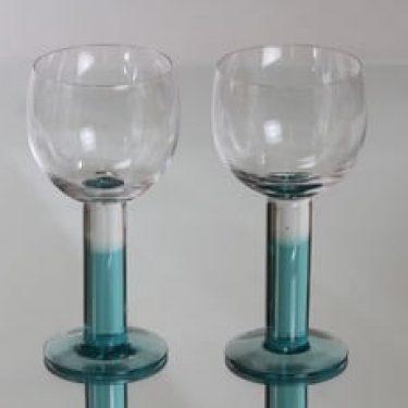 Nuutajärvi Mondo lasit, vihreä, 2 kpl, suunnittelija Kerttu Nurminen,