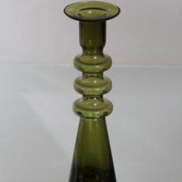 Riihimäen lasi Pagoda kynttilänjalka, oliivinvihreä, suunnittelija Nanny Still,