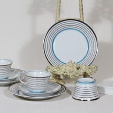 Arabia Raitahopea kahvikupit ja lautaset, 3 kpl, suunnittelija Greta-Lisa Jäderholm-Snellman, raitakoriste, art deco