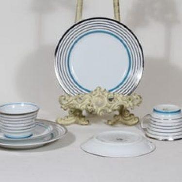 Arabia Raitahopea kahvikupit ja lautaset, 2 kpl, suunnittelija Greta-Lisa Jäderholm-Snellman, raitakoriste, art deco