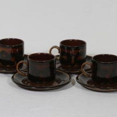 Arabia Soraya kahvikupit, käsinmaalattu, 4 kpl, suunnittelija Anja Jaatinen, käsinmaalattu, retro