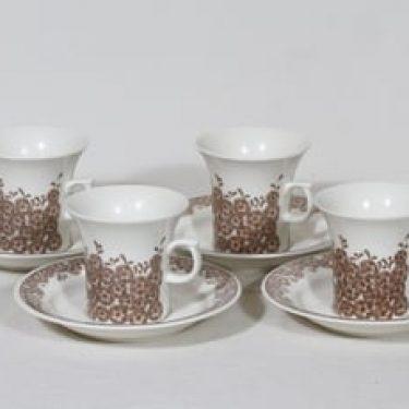 Arabia Veronica kahvikupit, 4 kpl, suunnittelija Inkeri Leivo, serikuva