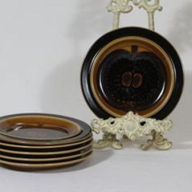 Arabia Fructus lautaset, käsinmaalattu, 6 kpl, suunnittelija Gunvor Olin-Grönqvist, käsinmaalattu, pieni, signeerattu, retro