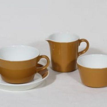 Arabia Palapeli sokerikko, kermakko ja teekuppi, oranssi lasite, suunnittelija Kaarina Aho,
