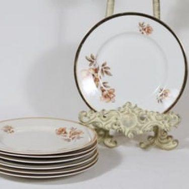 Arabia Myrna lautaset, 7 kpl, suunnittelija Olga Osol, pieni, siirtokuva, kultakoriste