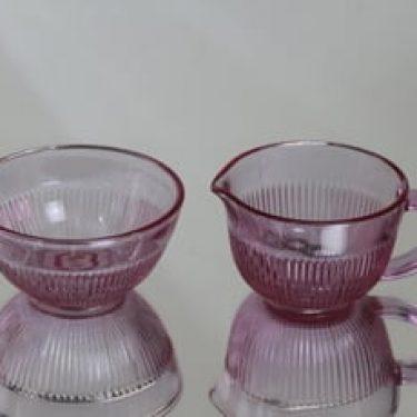 Riihimäen lasi Viiru sokerikko ja kermakko, lila, suunnittelija Nanny Still,