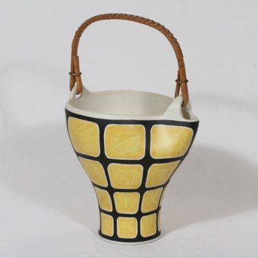 Kupittaan savi keramiikkakori, käsinmaalattu, suunnittelija Orvokki Laine, käsinmaalattu, signeerattu, retro
