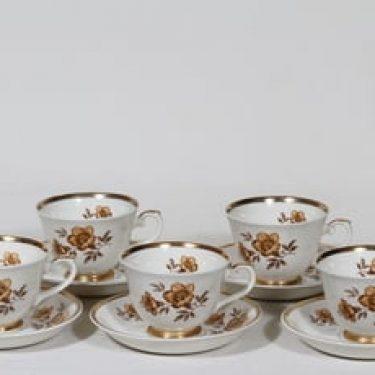 Arabia Myrna kahvikupit, 5 kpl, suunnittelija Olga Osol, serikuva