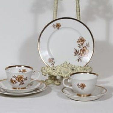 Arabia Myrna kahvikupit ja lautaset, 2 kpl, suunnittelija Olga Osol, serikuva