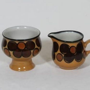 Arabia Kalevala sokerikko ja kermakko, käsinmaalattu, suunnittelija Peter Winquist, käsinmaalattu, signeerattu, retro
