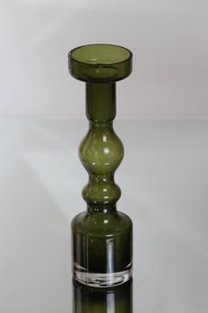 Riihimäen lasi Pompadour maljakko / kynttilänjalka, oliivinvihreä, suunnittelija Nanny Still,
