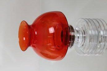 Riihimäen lasi Apollo kynttilälyhty, punainen, suunnittelija Nanny Still,