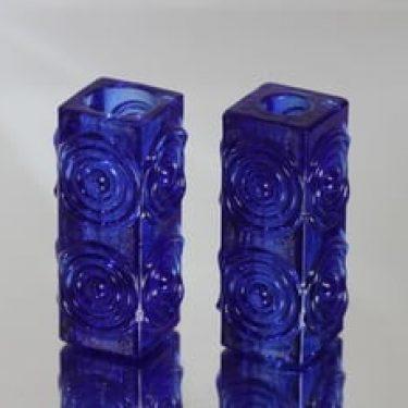 Riihimäen lasi Rengas kynttilänjalat, koboltinsininen, 2 kpl, suunnittelija Tamara Aladin, retro