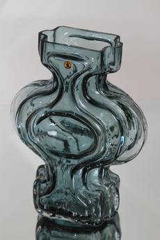 Riihimäen lasi Emma maljakko, siniharmaa, suunnittelija Helena Tynell, suuri