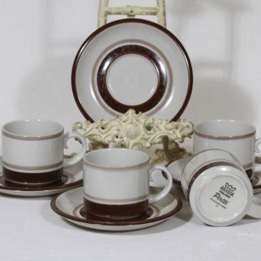 Arabia Pirtti kahvikupit, 4 kpl, suunnittelija Raija Uosikkinen, raitakoriste