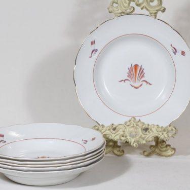 Arabia Näkki lautaset, syvä, 6 kpl, suunnittelija Tyra Lungren, syvä, siirtokuva