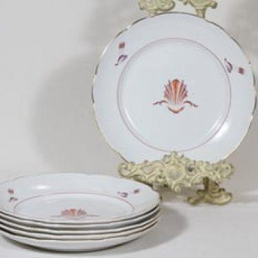 Arabia Näkki lautaset, matala, 6 kpl, suunnittelija Tyra Lungren, matala, siirtokuva