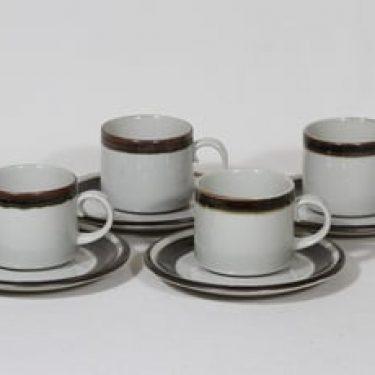 Arabia Karelia teekupit, käsinmaalattu, 4 kpl, suunnittelija Anja Jaatinen-Winquist, käsinmaalattu