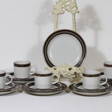 Arabia Karelia kahvikupit ja lautaset, käsinmaalattu, 6 kpl, suunnittelija Anja Jaatinen-Winquist, käsinmaalattu
