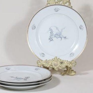 Arabia Mökki lautaset, matala, 4 kpl, suunnittelija Rainer Baer, matala, painokuva