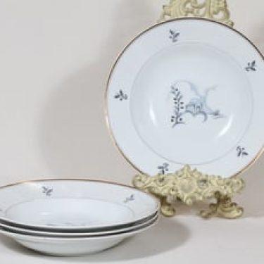Arabia Mökki lautaset, syvä, 4 kpl, suunnittelija Rainer Baer, syvä, painokuva