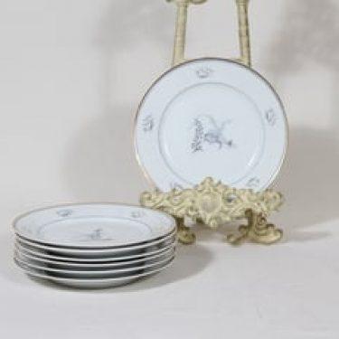 Arabia Mökki lautaset, pieni, 7 kpl, suunnittelija Rainer Baer, pieni, painokuva