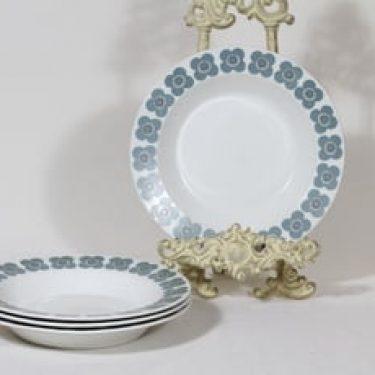 Arabia Veera lautaset, syvä, 4 kpl, suunnittelija Esteri Tomula, syvä, serikuva, retro