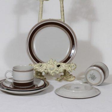 Arabia Pirtti kahvikupit ja lautaset, 2 kpl, suunnittelija Raija Uosikkinen, raitakoriste