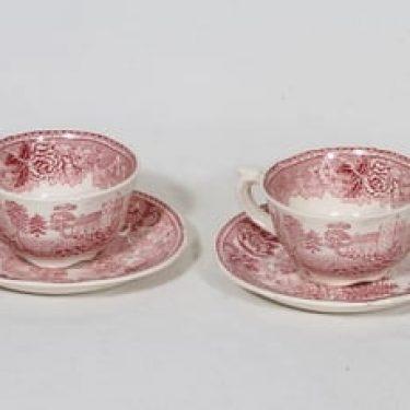 Arabia Maisema kahvikupit, punainen, 2 kpl, suunnittelija , kuparipainokoriste