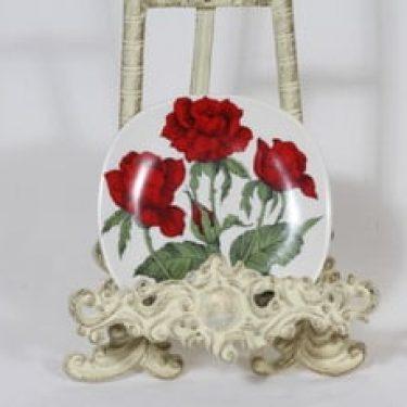 Arabia Rosa koristelautanen, Rosa polyantha, suunnittelija Esteri Tomula, Rosa polyantha, pieni, serikuva