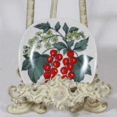 Arabia Botanica koristelautanen, Punainen viinimarja, suunnittelija Esteri Tomula, Punainen viinimarja, pieni, serikuva
